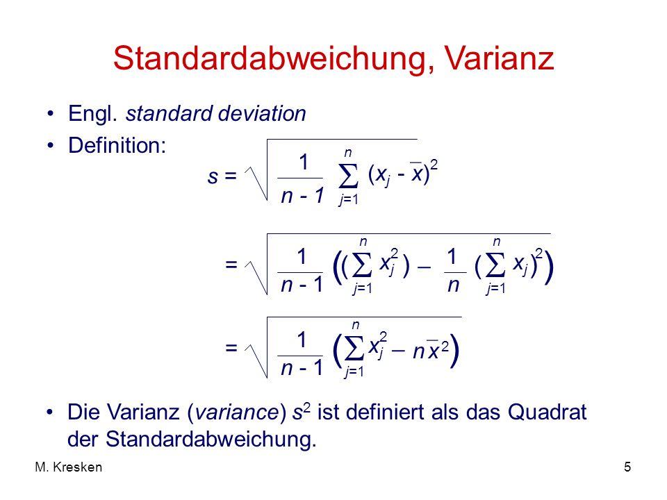 Standardabweichung, Varianz