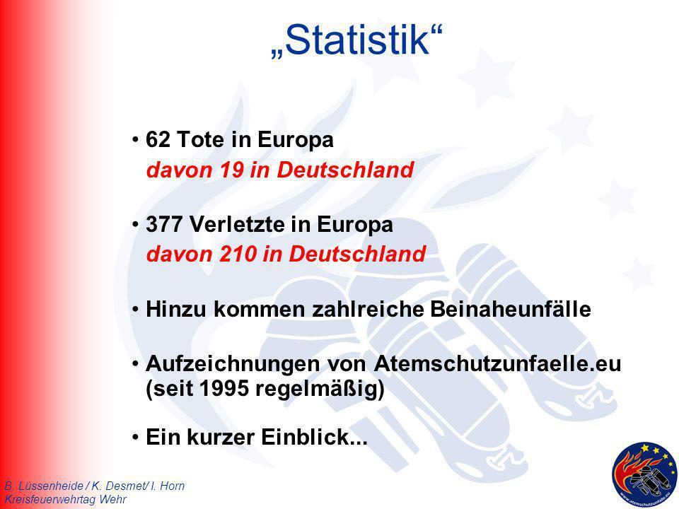 """""""Statistik 62 Tote in Europa davon 19 in Deutschland"""