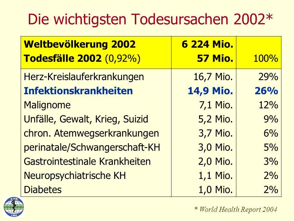 Die wichtigsten Todesursachen 2002*