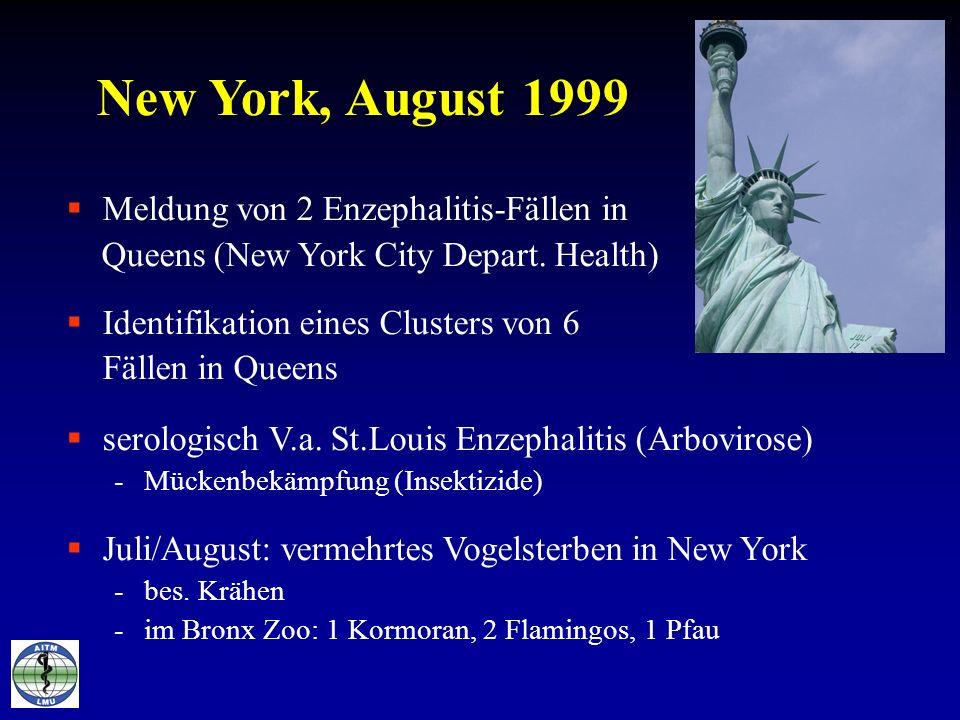 New York, August 1999 Meldung von 2 Enzephalitis-Fällen in