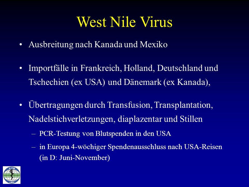 West Nile Virus Ausbreitung nach Kanada und Mexiko