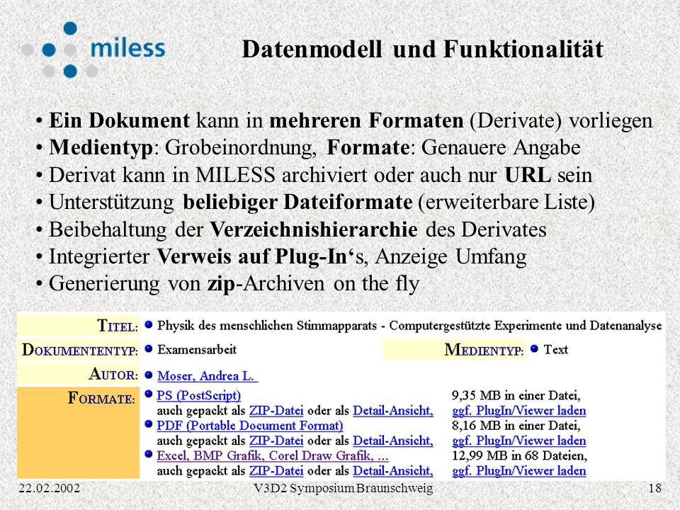 Datenmodell und Funktionalität