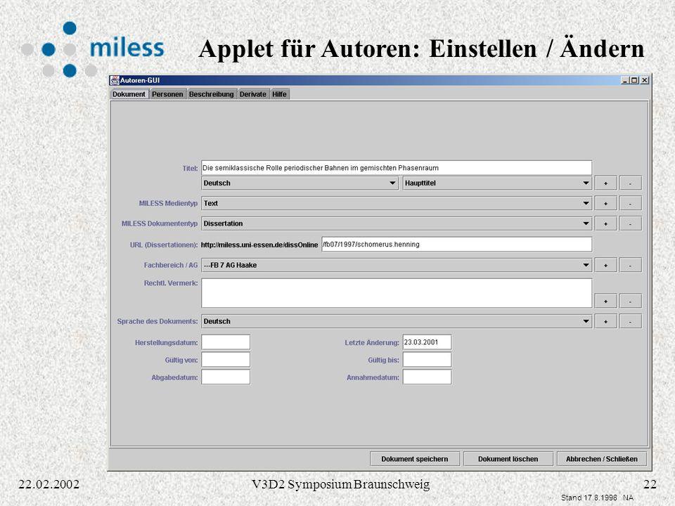 Applet für Autoren: Einstellen / Ändern