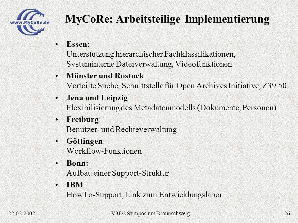 MyCoRe: Arbeitsteilige Implementierung