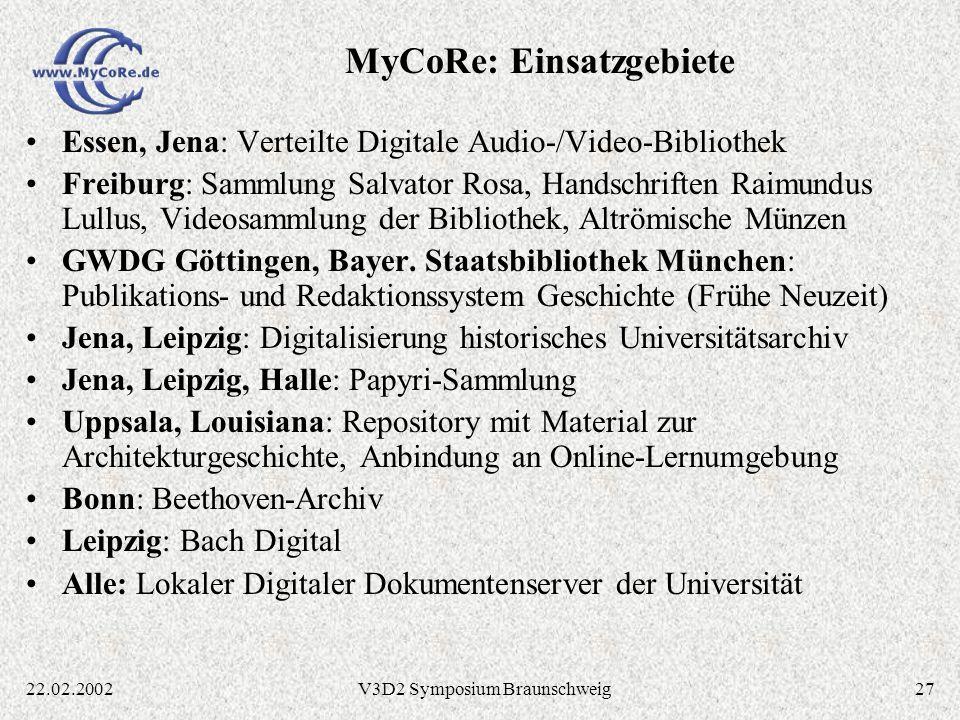 MyCoRe: Einsatzgebiete