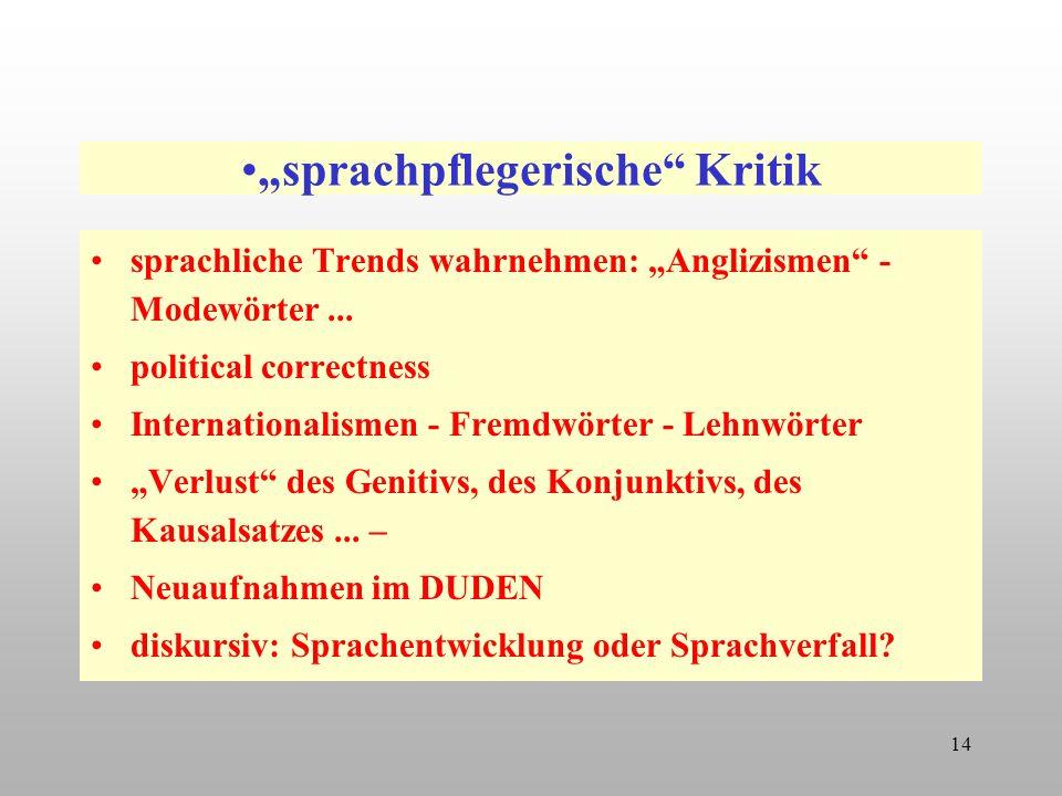 """""""sprachpflegerische Kritik"""