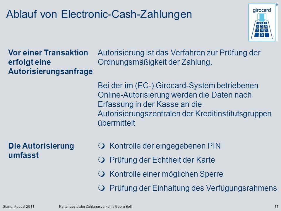 Ablauf von Electronic-Cash-Zahlungen