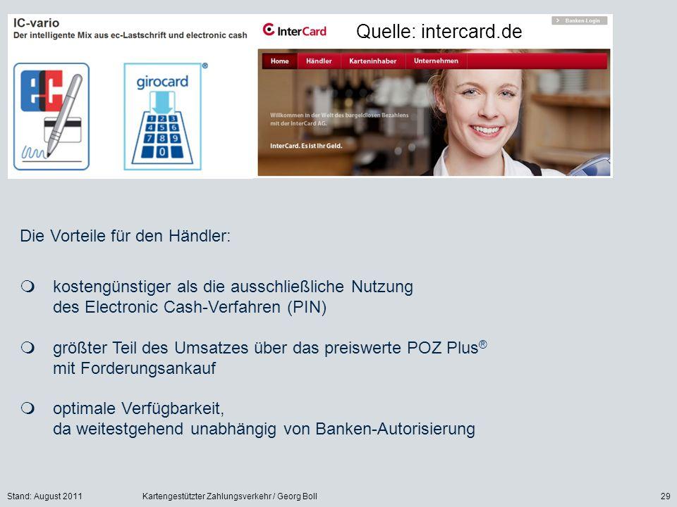 Quelle: intercard.de Die Vorteile für den Händler: