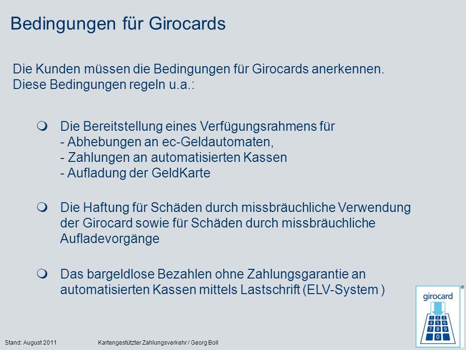 Bedingungen für Girocards