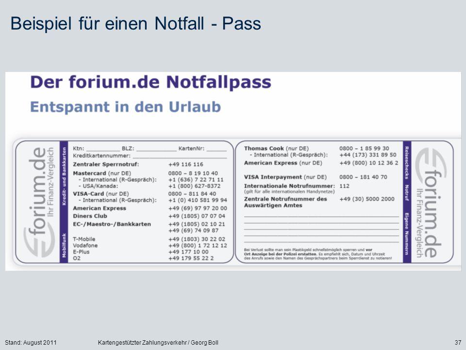 Beispiel für einen Notfall - Pass