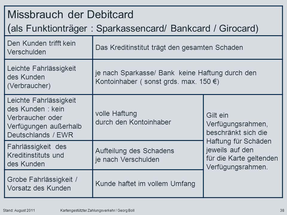 Missbrauch der Debitcard (als Funktionträger : Sparkassencard/ Bankcard / Girocard)