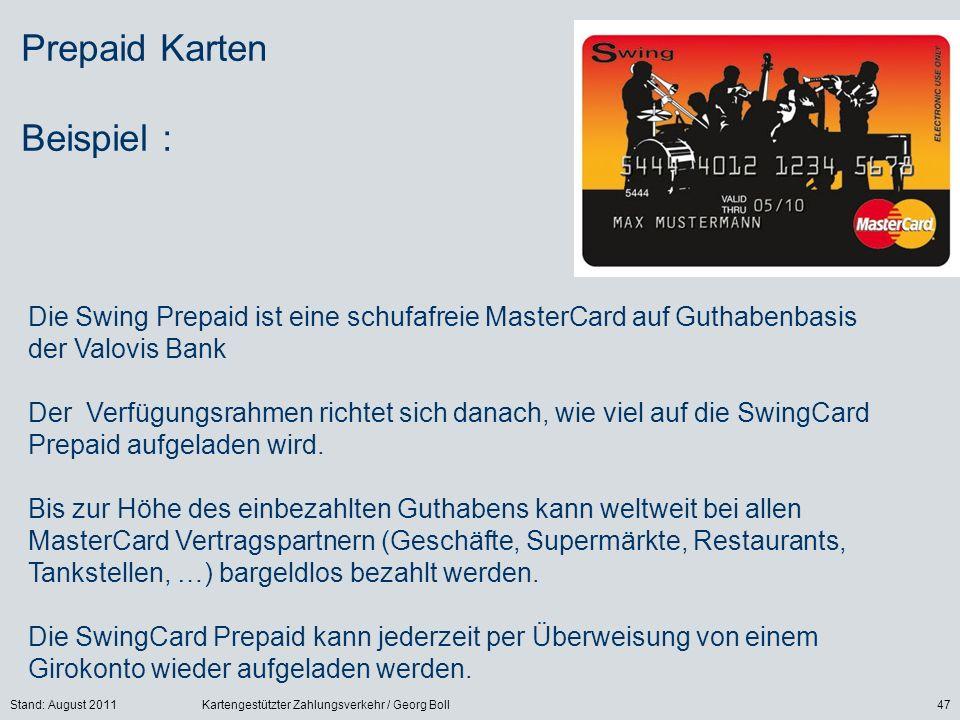 Prepaid Karten Beispiel :