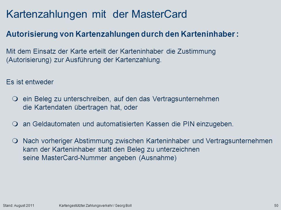 Kartenzahlungen mit der MasterCard