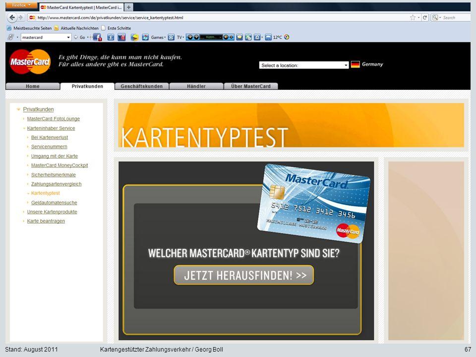 Stand: August 2011 Kartengestützter Zahlungsverkehr / Georg Boll