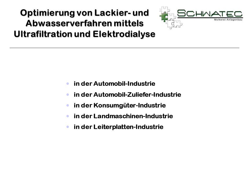 Optimierung von Lackier- und Abwasserverfahren mittels Ultrafiltration und Elektrodialyse
