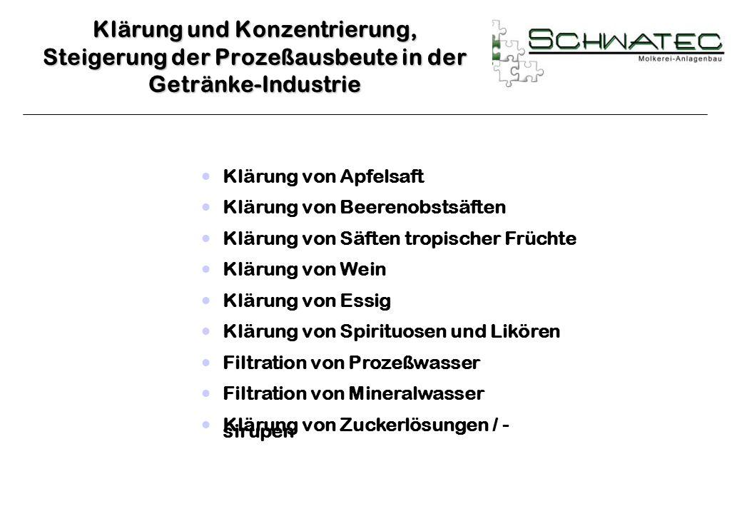 Klärung und Konzentrierung, Steigerung der Prozeßausbeute in der Getränke-Industrie