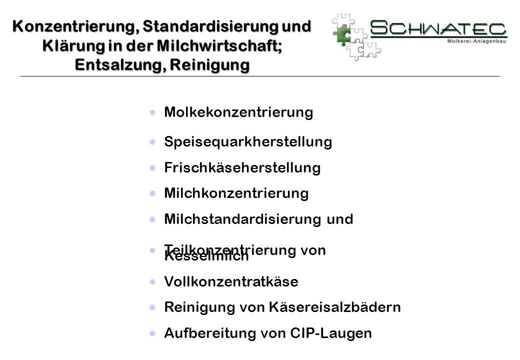 Konzentrierung, Standardisierung und Klärung in der Milchwirtschaft; Entsalzung, Reinigung