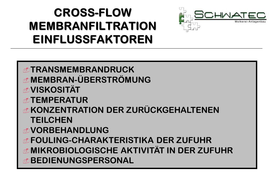 CROSS-FLOW MEMBRANFILTRATION EINFLUSSFAKTOREN