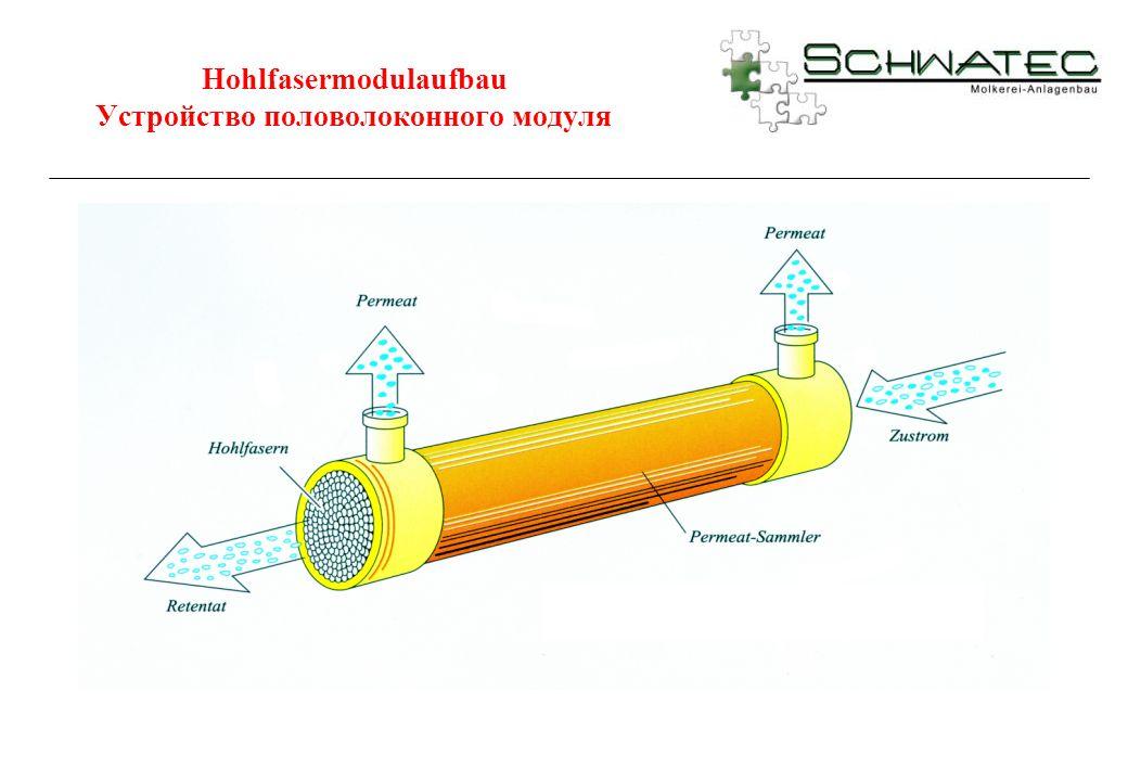 Hohlfasermodulaufbau Устройство половолоконного модуля