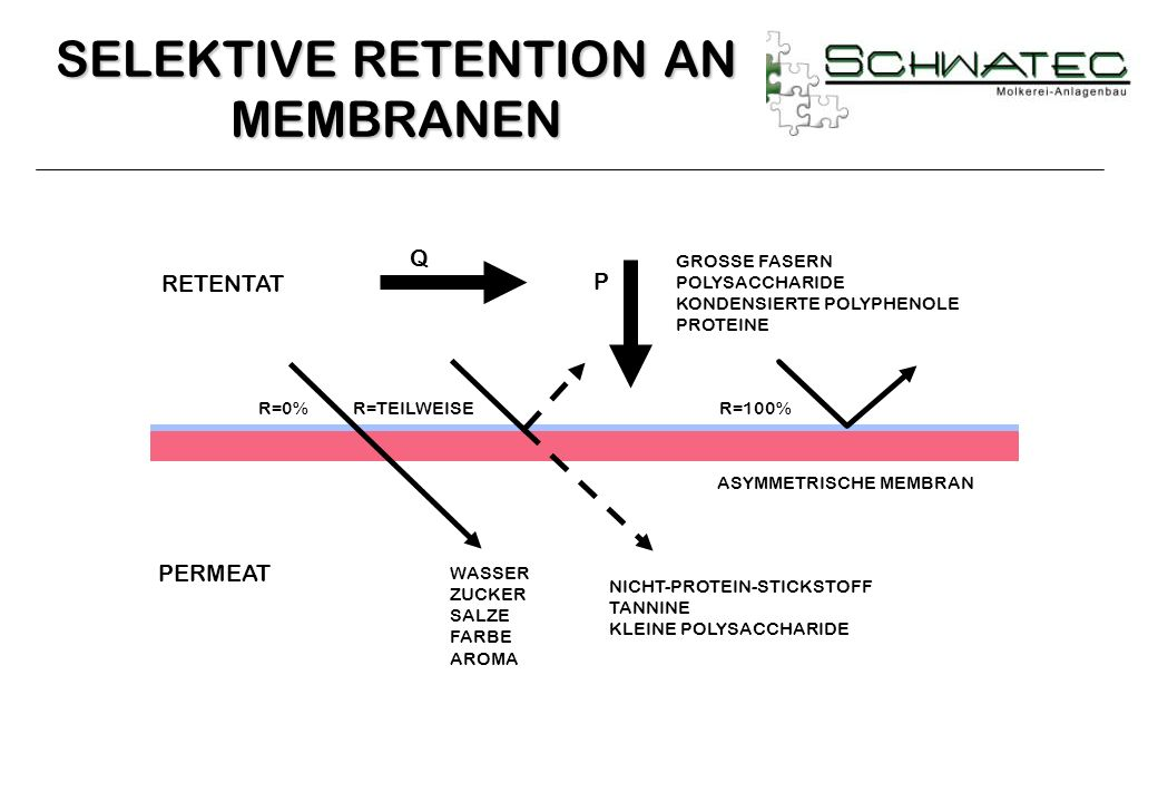 SELEKTIVE RETENTION AN MEMBRANEN