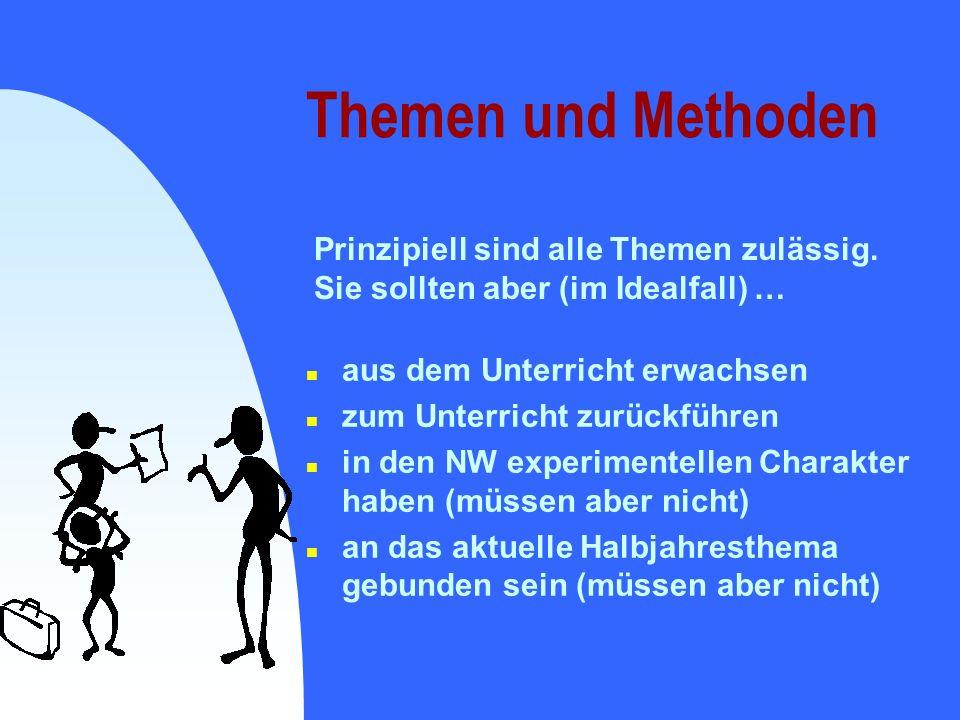 Themen und Methoden Prinzipiell sind alle Themen zulässig.