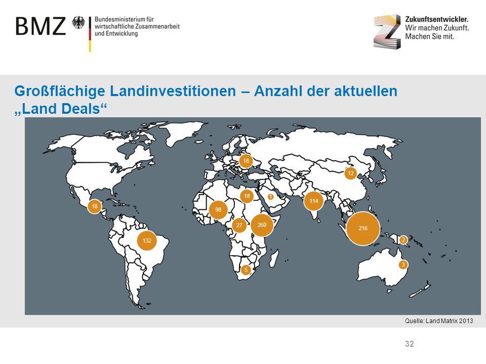"""Großflächige Landinvestitionen – Anzahl der aktuellen """"Land Deals"""
