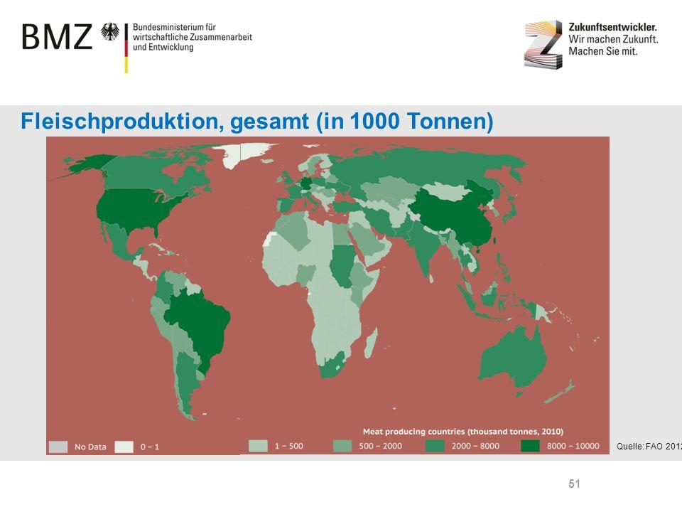 Fleischproduktion, gesamt (in 1000 Tonnen)