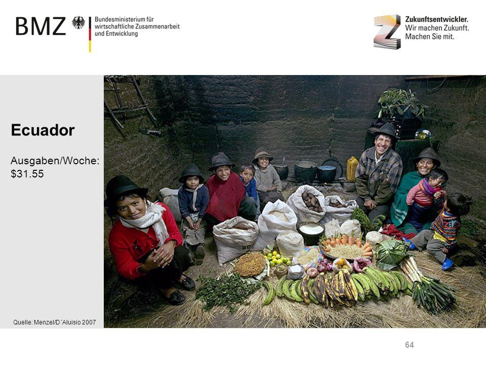 Ecuador Ausgaben/Woche: $31.55 Quelle: Menzel/D´Aluisio 2007