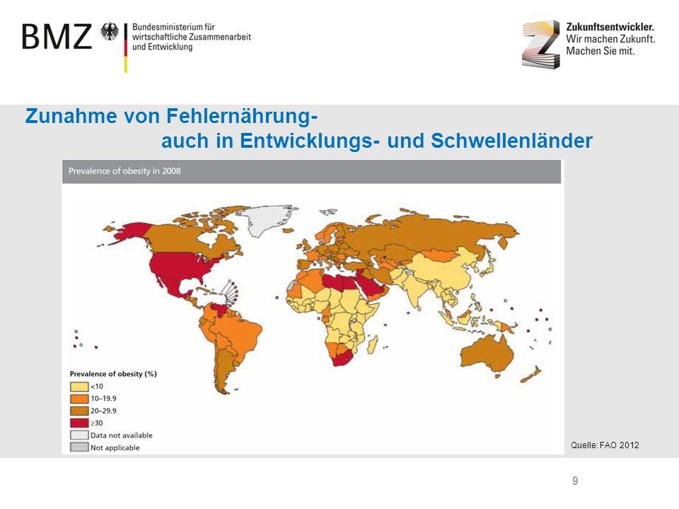 Zunahme von Fehlernährung- auch in Entwicklungs- und Schwellenländer