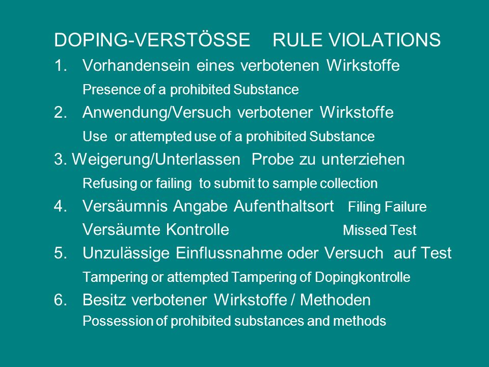 DOPING-VERSTÖSSE RULE VIOLATIONS