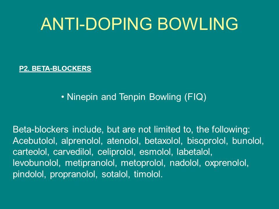 ANTI-DOPING BOWLING • Ninepin and Tenpin Bowling (FIQ)