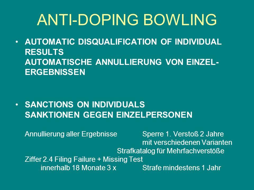 ANTI-DOPING BOWLING AUTOMATIC DISQUALIFICATION OF INDIVIDUAL RESULTS AUTOMATISCHE ANNULLIERUNG VON EINZEL-ERGEBNISSEN.