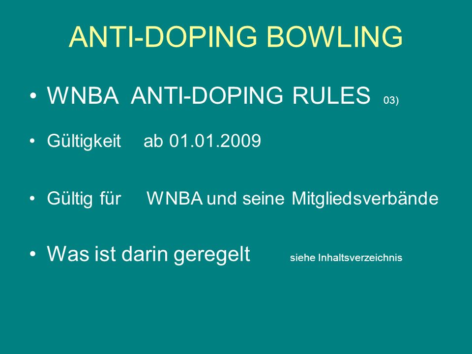 ANTI-DOPING BOWLING WNBA ANTI-DOPING RULES 03)
