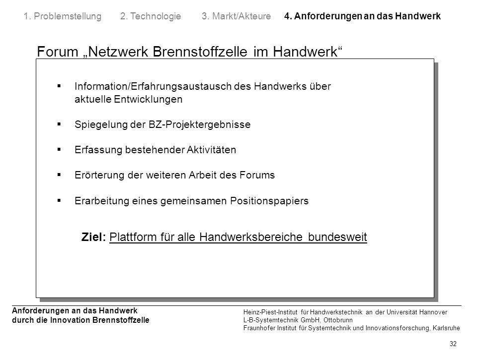 """Forum """"Netzwerk Brennstoffzelle im Handwerk"""