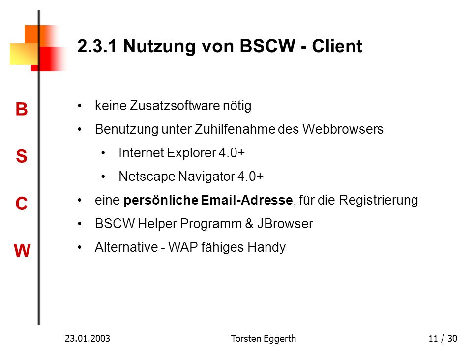2.3.1 Nutzung von BSCW - Client