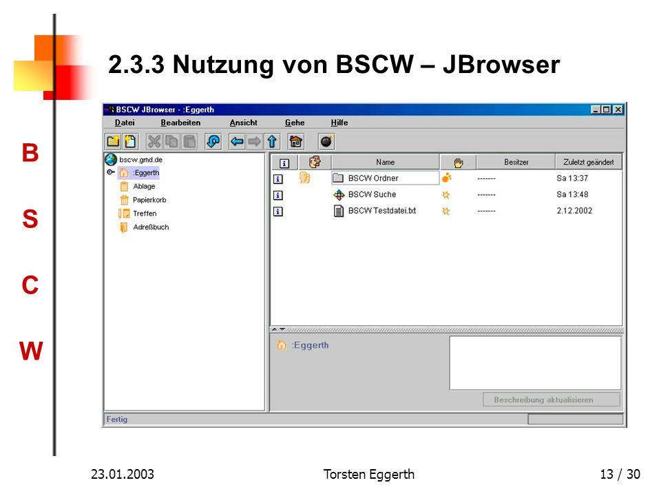 2.3.3 Nutzung von BSCW – JBrowser