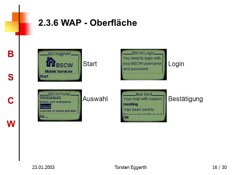 2.3.6 WAP - Oberfläche Start Login Auswahl Bestätigung 23.01.2003
