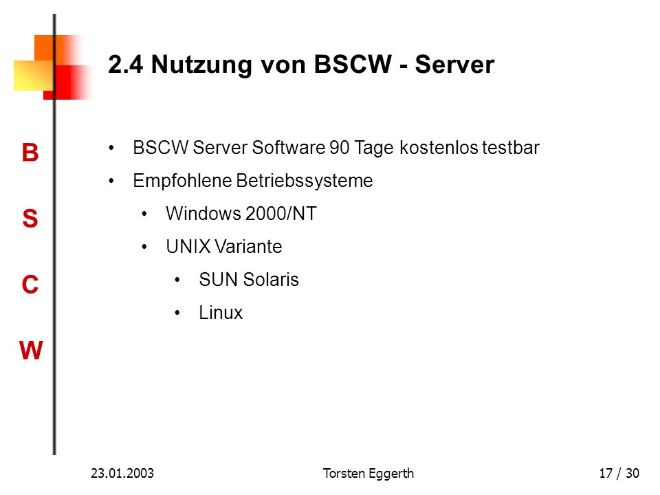 2.4 Nutzung von BSCW - Server