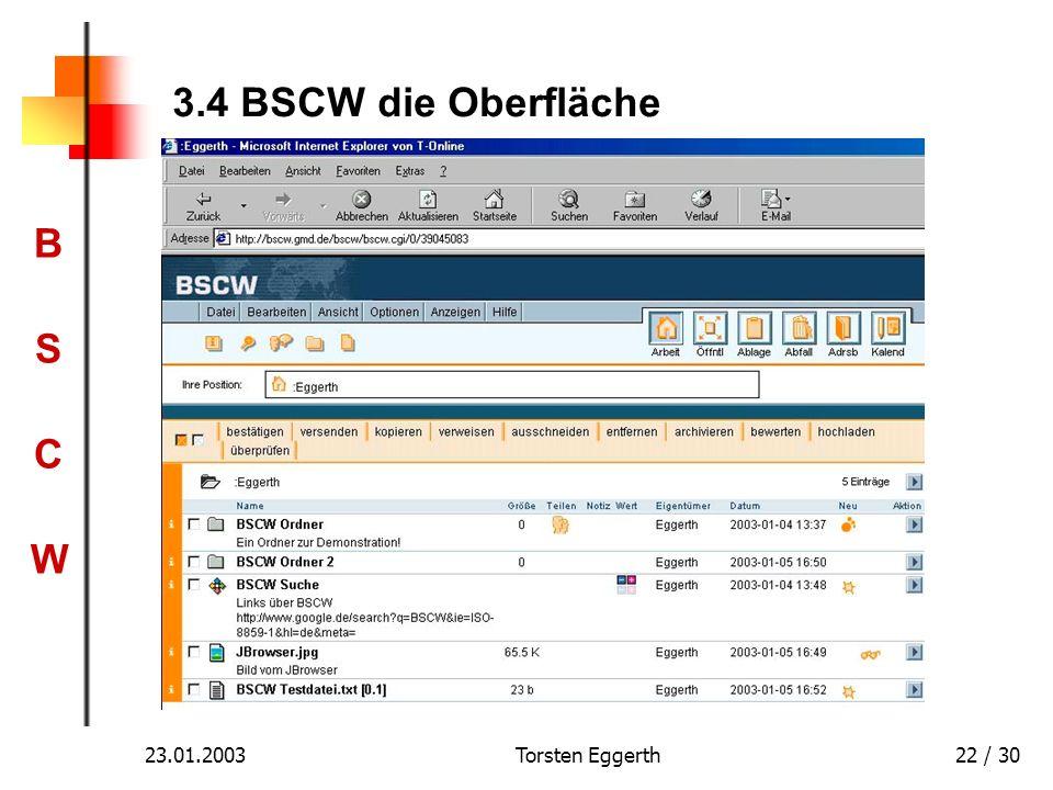3.4 BSCW die Oberfläche 23.01.2003 Torsten Eggerth