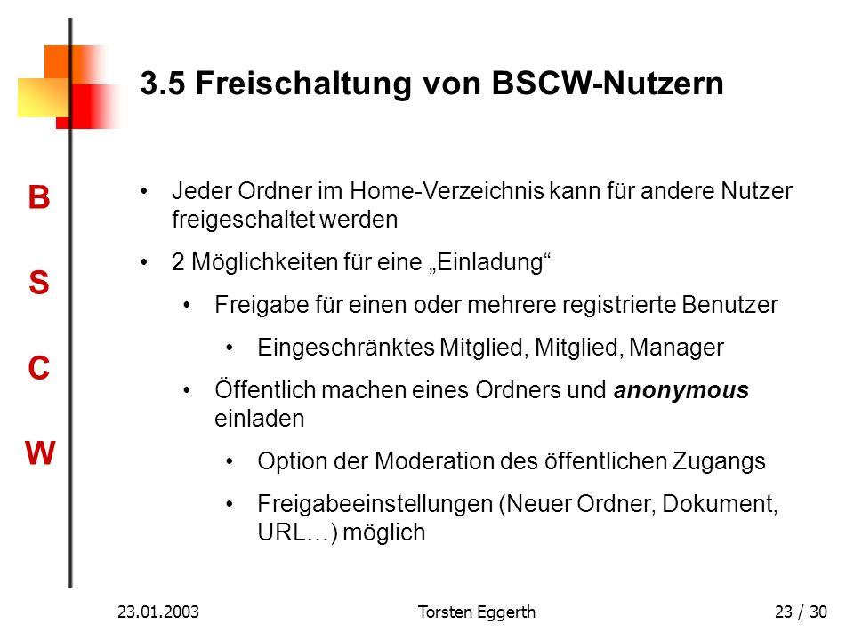 3.5 Freischaltung von BSCW-Nutzern