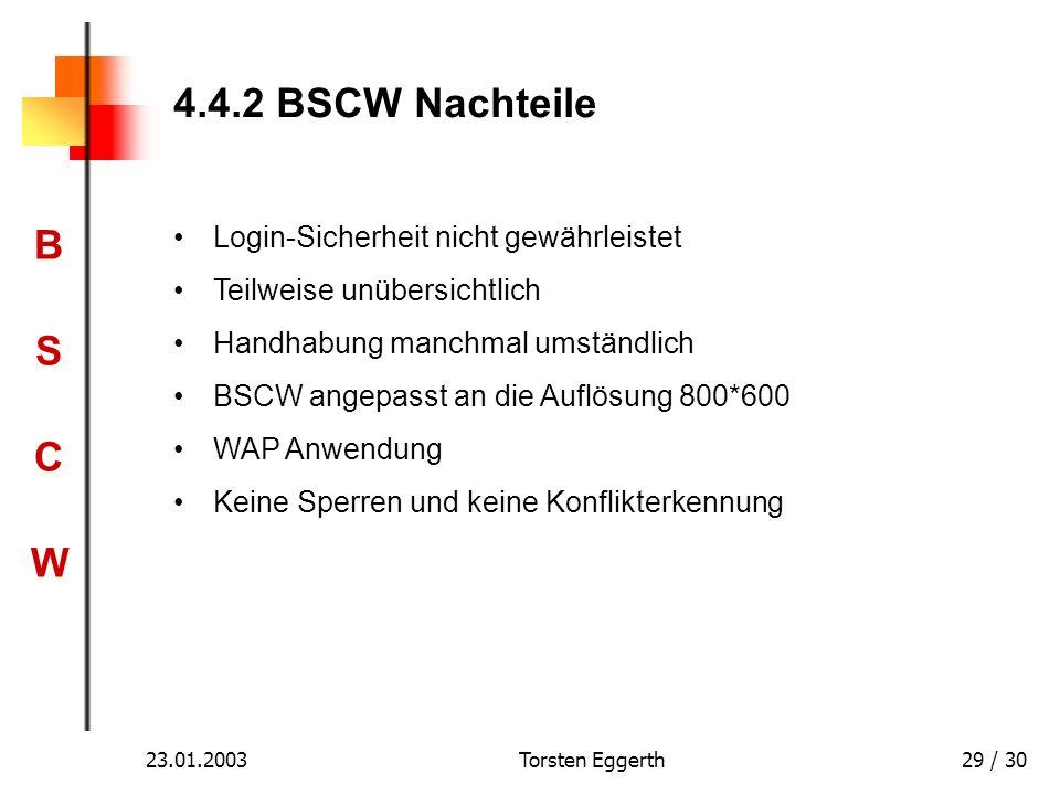 4.4.2 BSCW Nachteile Login-Sicherheit nicht gewährleistet
