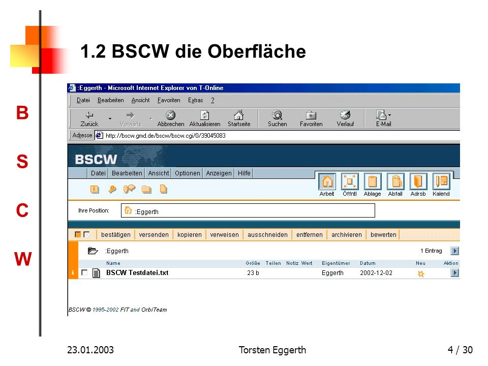 1.2 BSCW die Oberfläche 23.01.2003 Torsten Eggerth