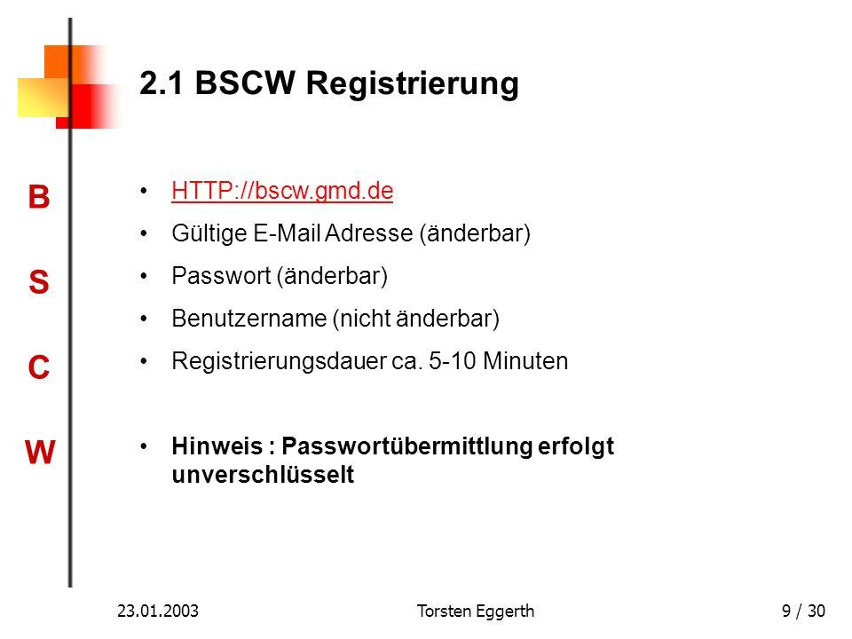 2.1 BSCW Registrierung HTTP://bscw.gmd.de