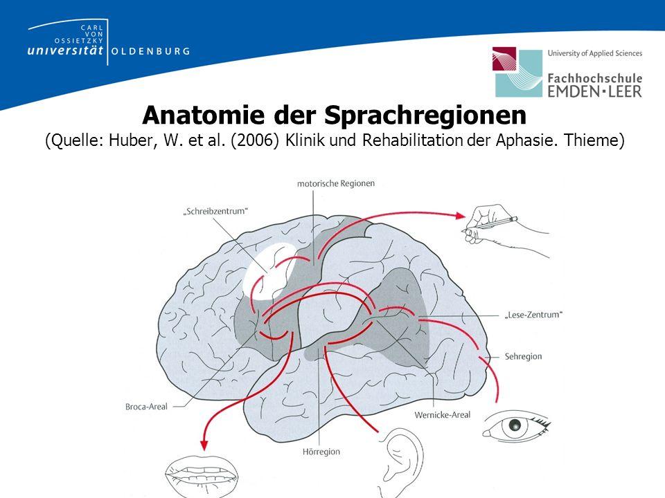 Anatomie der Sprachregionen (Quelle: Huber, W. et al