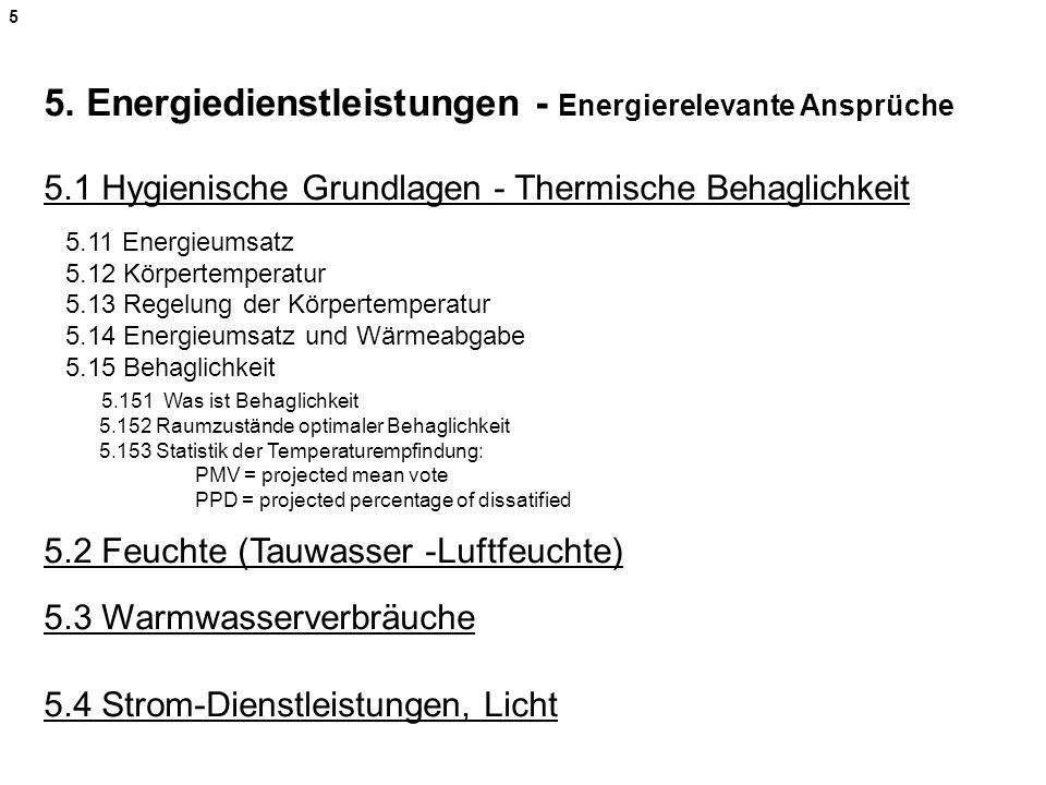 5 5. Energiedienstleistungen - Energierelevante Ansprüche 5.1 Hygienische Grundlagen - Thermische Behaglichkeit.