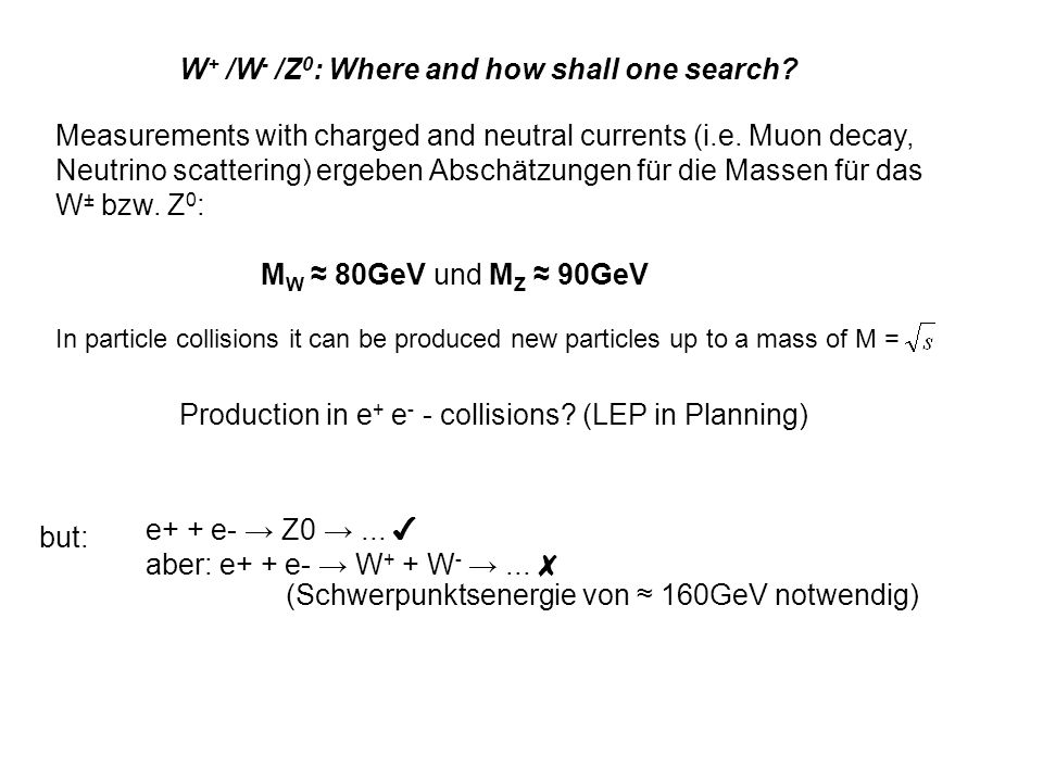 W+ /W- /Z0: Where and how shall one search