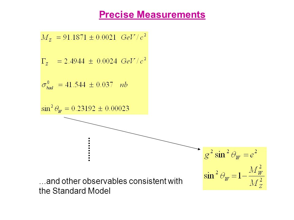 Precise Measurements ...and other observables consistent with the Standard Model