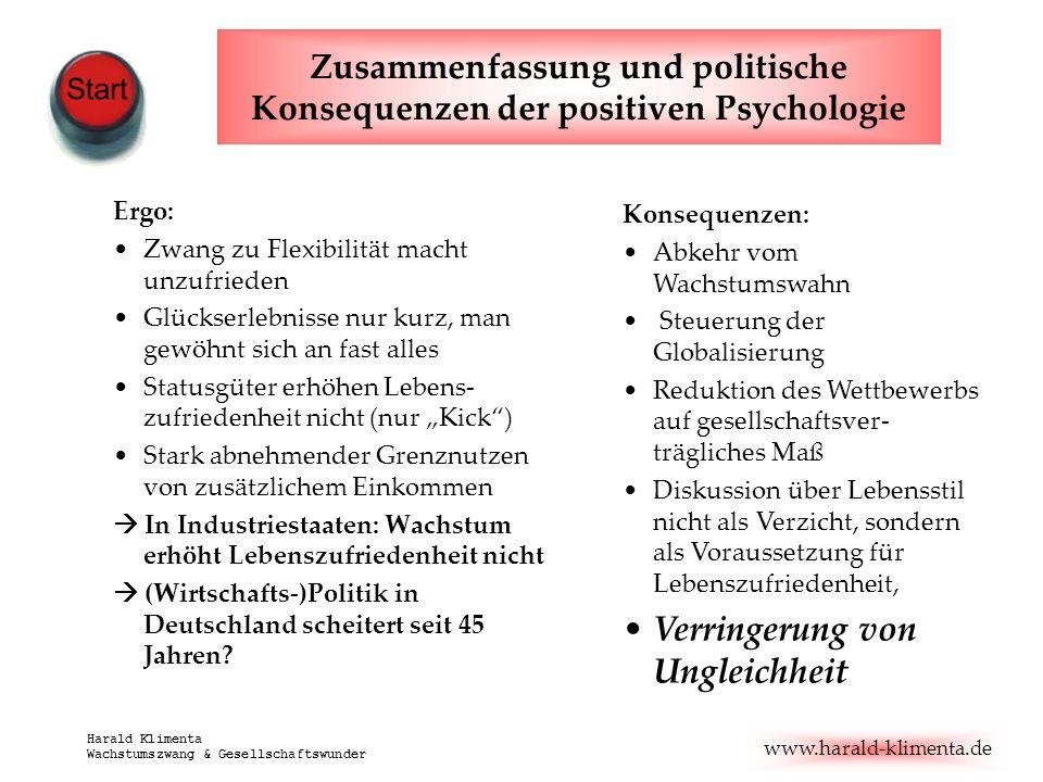 Zusammenfassung und politische Konsequenzen der positiven Psychologie