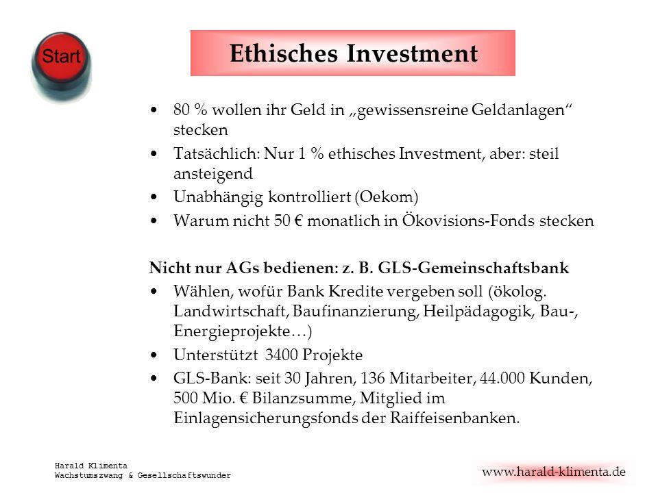 """Ethisches Investment80 % wollen ihr Geld in """"gewissensreine Geldanlagen stecken. Tatsächlich: Nur 1 % ethisches Investment, aber: steil ansteigend."""
