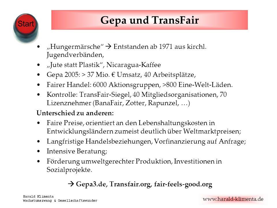 """Gepa und TransFair""""Hungermärsche  Entstanden ab 1971 aus kirchl. Jugendverbänden, """"Jute statt Plastik , Nicaragua-Kaffee."""